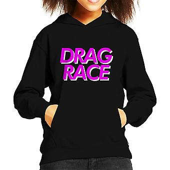 Bluza z kapturem Drag Race różowe czcionki Kid