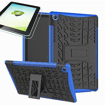 För Huawei MediaPad M5 10,8 och 10,8 Pro hybrid utomhus case blå väska + 0.4 H9 skyddsglas