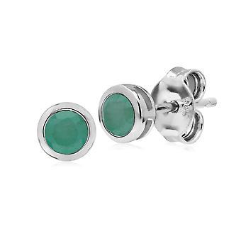 Gemondo sterlinghopea yksinkertainen Emerald kehys pyöreä Stud korvakorusta