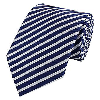 Knyta slips tie slips 8cm Mörk blå Fabio Farini vit randig