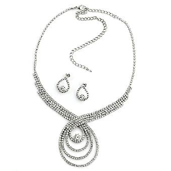 Rhinestone smykker sett rhinestone kjede og rhinestone øredobber rhinestone angi forlengelse