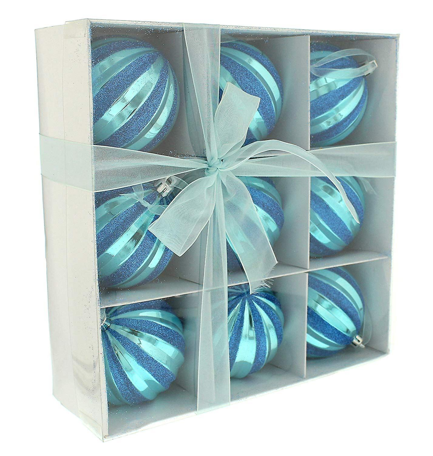 Festive Productions 9 Pack Christmas 80mm Ball Shiny Blue Shatterproof Baubles