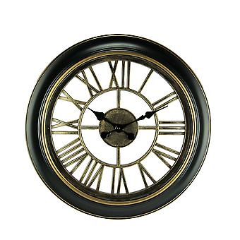 Black and Gold Open Frame Cut Out Design Wall Clock