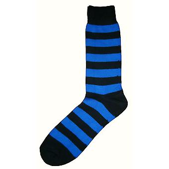 Bassin and Brown Striped Midcalf Socks - Black/Blue