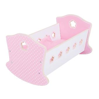Bigjigs Toys Wooden Doll's Rocking Cradle Bed Pretend Role Play Accessories