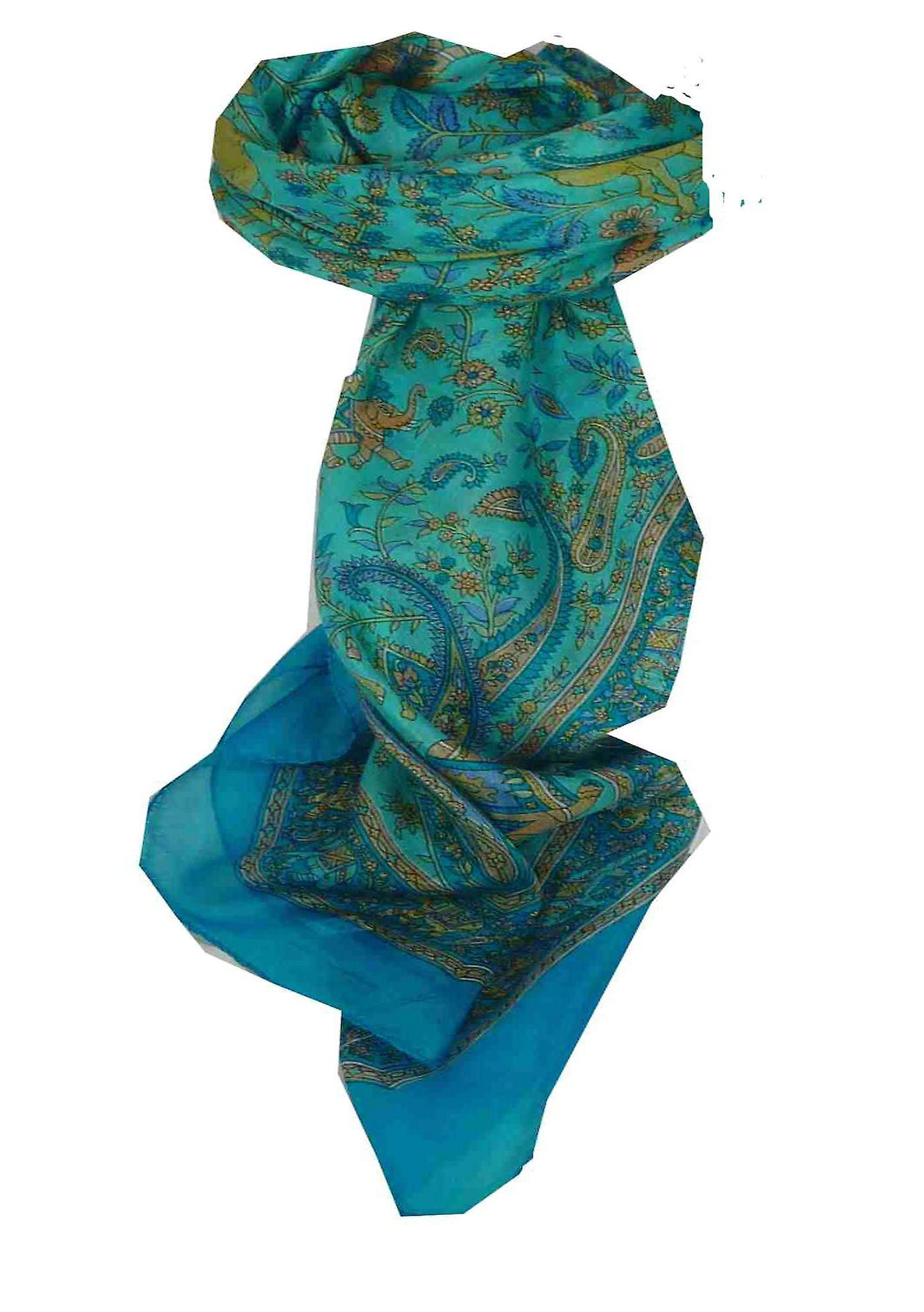 Mulberry Silk Traditional Square Scarf Abhan Light Blue by Pashmina & Silk