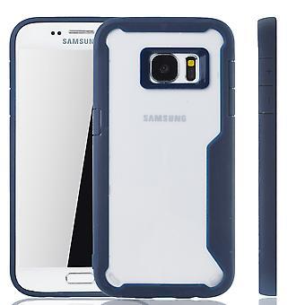 Blaue Premium Samsung Galaxy S7 Hybrid-Editon Hülle | Unterstützt Kabelloses Laden | aus edlem Acryl mit weichem Silikonrand Blau