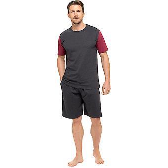 טום פרנקס מנס ג'רזי כותנה שרוול קצר חולצה פיג'מה M אפור-אדום