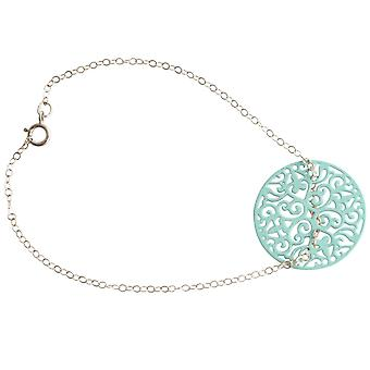 Gemshine armband yoga Mandala cirkel in zilver of verguld-blauw-licht blauw