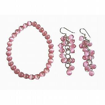 Rosa katt öga sten Bead pärlstav dingla krok örhängen Stretch armband
