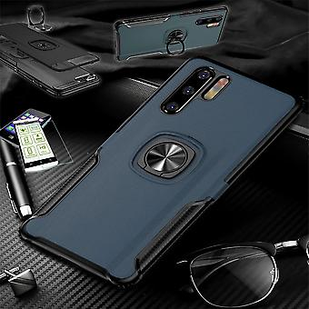 Huawei P30 ライトハイブリッドマグネットメタルリングケースブルー + ハードガラスバッグケースカバーケース用