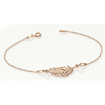 Ah! Jewellery Rose Gold Over Sterling Silver Feather 20cm Bracelet