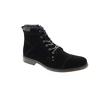Robert Wayne Jaron  Mens Black Suede Ankle Zipper Casual Dress Boots