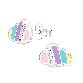 Children's Sterling Silver Rainbow Cloud Stud Earrings