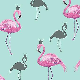 Queen Flamingo Pink Teal Wallpaper Glitter Crown Animal Tropical Luxury Arthouse