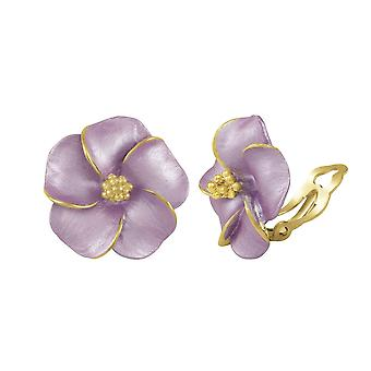 Eternal Collection Pansy Lilac Enamel Gold Tone Stud Clip On Earrings