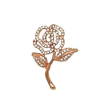 Eternal Collection Rosemary Crystal Rose Gold Tone Flower Brooch