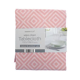 Country Club PVC Geo Tablecloth, Pink