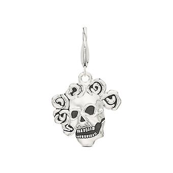 Grateful Dead Skull and Roses Charm In Sterling Silver