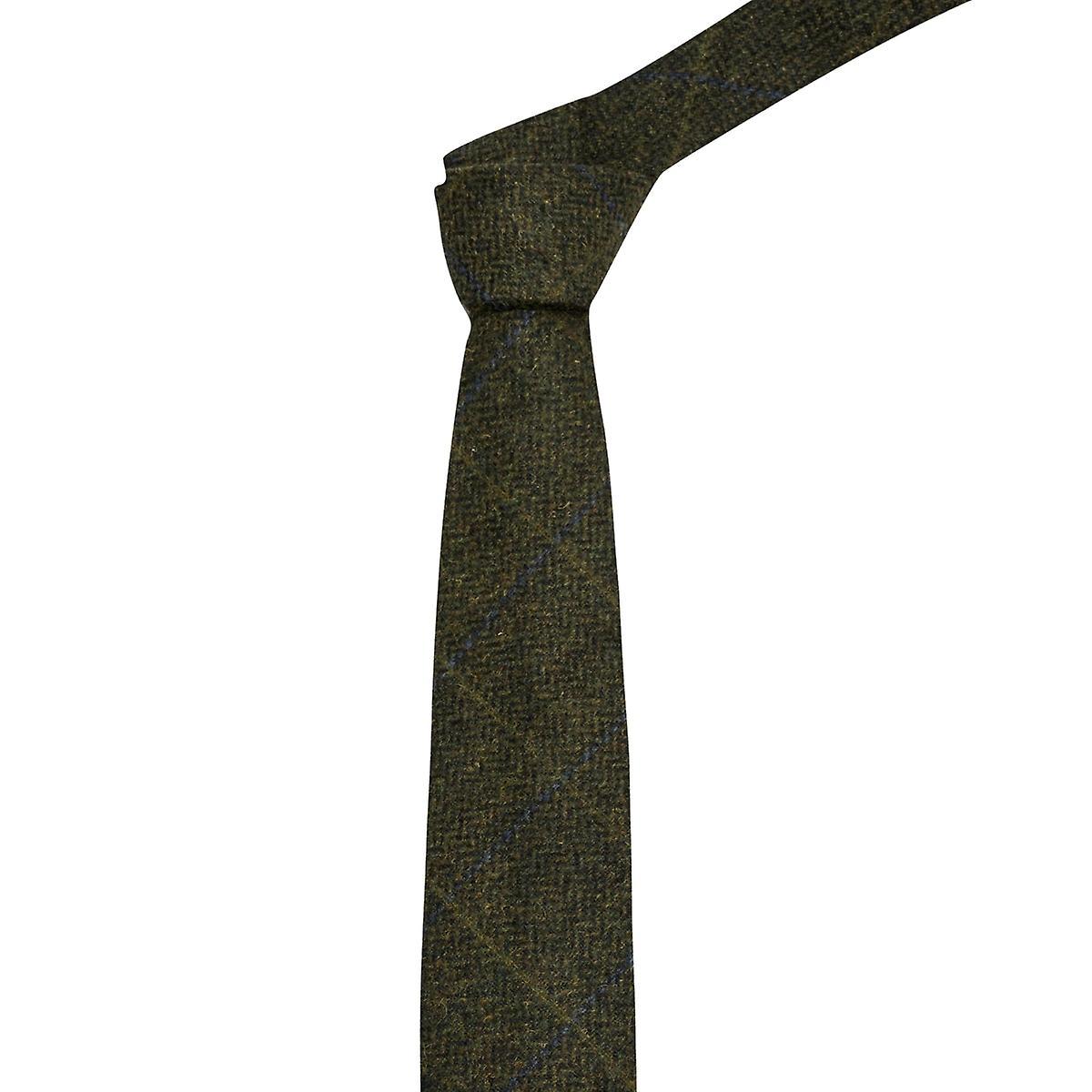 Luxury Juniper Green Herringbone Check Tie, Tweed