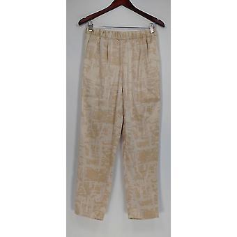 H de Halston Women's Pantalones Etch Impresión Tejida Pull-On Tobillo Beige A272371