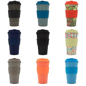 Ecoffee Eco-Friendly 16oz 470ml Reusable Natural Bamboo Fibre Tea & Coffee Cups With Silicone Lid Top For Travel & Home - Various Colours