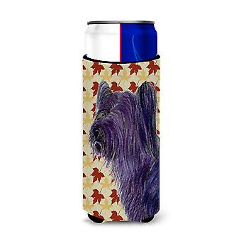 Skye Terrier Fall Leaves Portrait Ultra Beverage Insulators for slim cans SS4393