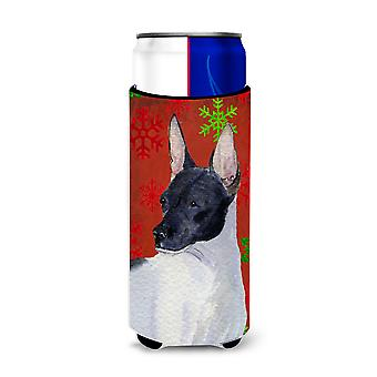 Rat Terrier Red and Green Snowflakes Holiday Christmas Ultra Beverage Insulators