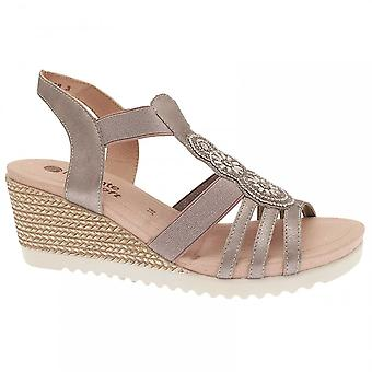 Remonte Pewter Wedge Elasticated Strap Sandal