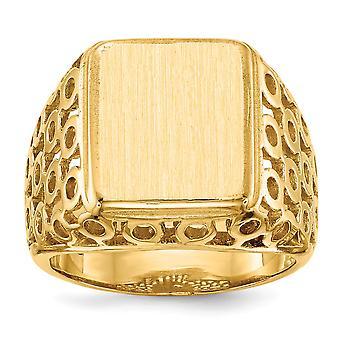 14 retro giallo oro lucido aperto k Engravable Mens dell'anello di Signet - 12,5 grammi - Dimensioni 10