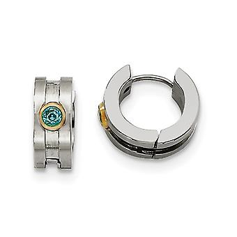Stainless Steel Teal CZ Cubic Zirconia Simulated Diamond Stone and Gold Flashed Brushed Polished IPB Black plated Hinged