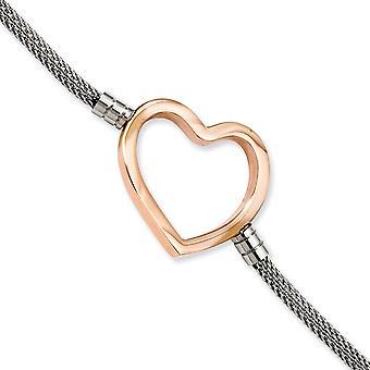 rustfritt stål polert IP rosebelagt fancy hummer nedleggelse rosebelagt kjærlighet hjerte mesh 7,75 med ext armbånd smykker