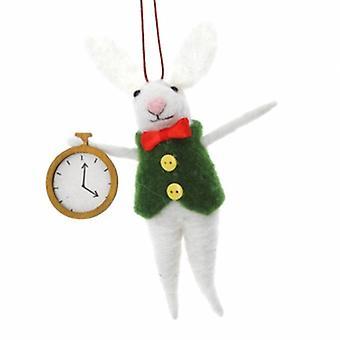 Gisela Graham Wool Rabbit com decoração de relógio