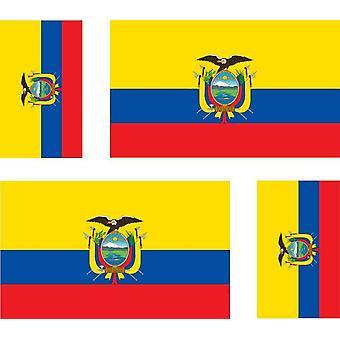 4 X Autocollant Sticker Voiture Moto Valise Pc Portable Drapeau Equateur Equator