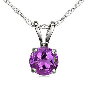Dazzlingrock Collection 14K 7 mm Round Cut Amethyst Ladies Solitaire Pendant (Silver Chain Included), White Gold