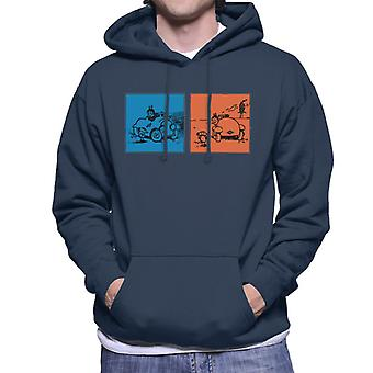 Krazy Kat Blue Orange Panel Men's Hooded Sweatshirt