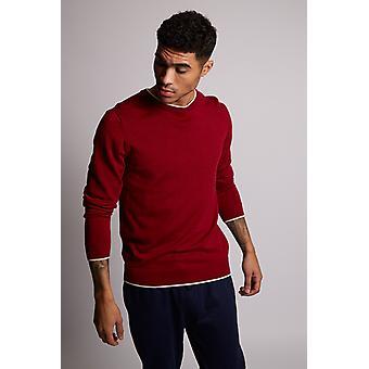 Hymn Marine Merino Plain Wool Knit Jumper Red