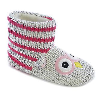 Knitted Animal Owl Boot Bootee/Bootie Slippers With Fleece Lining For Kids/Children UK/EU Sizes