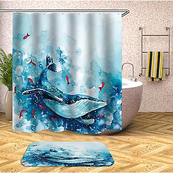 Turquoise And Blue Watercolor Whale Shower Curtain