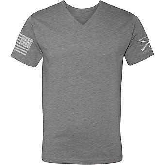 Grunt Stile Base V-Collo T-Shirt - Scuro Heather Grigio