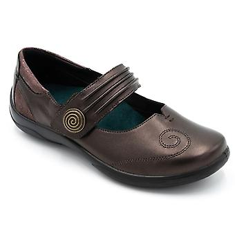 Padders Poem Ladies Leather Extra Wide (2e/3e) Shoes Rosewood