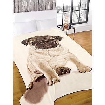 Luxe Faux Fur Pug ontwerp gooien deken 150cm x 200cm