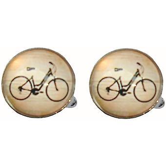 Bassin og Brown sykkel mansjettknapper-svart/hvit