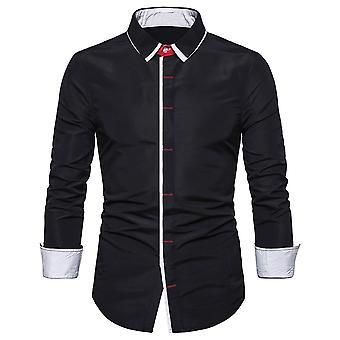 Allthemen Mens solid Slim Fit casual Colorblocate cămașă cu mânecă lungă