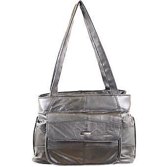 Damen Soft Nappa Lederhandtasche / Umhängetasche mit mehreren Taschen (schwarz)