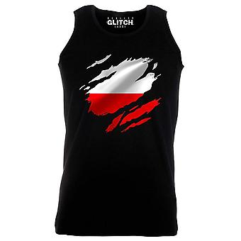 Reality glitch torn poland flag mens vest