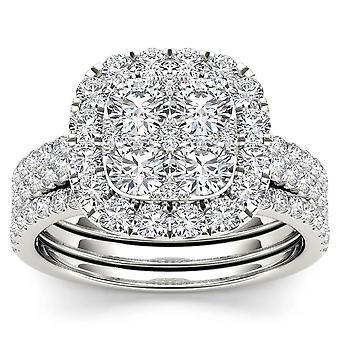 Igi certificato 14k oro bianco 2.00 ct diamante halo due bande fiancheggie anello di fidanzamento