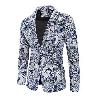 Allthemen Men's Casual Elegant One-button Printed Porcelain Pattern Blazer