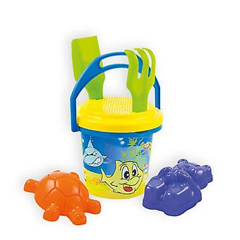 Mochtoys Sand Toy Set 5608 with Bucket, Sand Molds, Rake, Shovel and Sieve