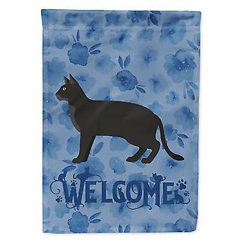 Carolines Schätze CK4851CHF Chausie schwarze Katze Willkommen Flagge Canvas Hausgröße